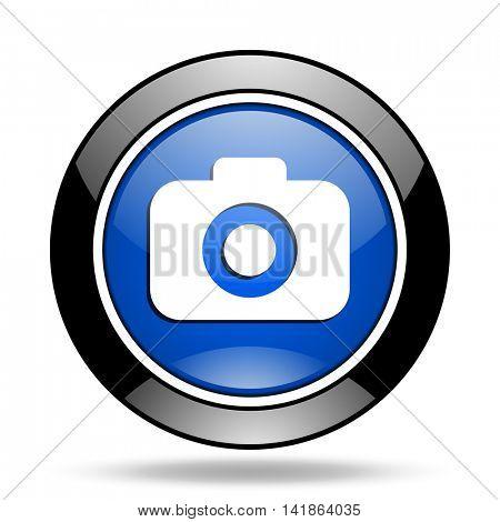 photo camera blue glossy icon