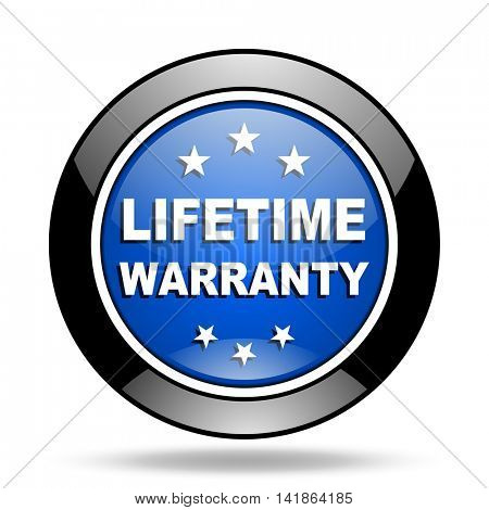lifetime warranty blue glossy icon