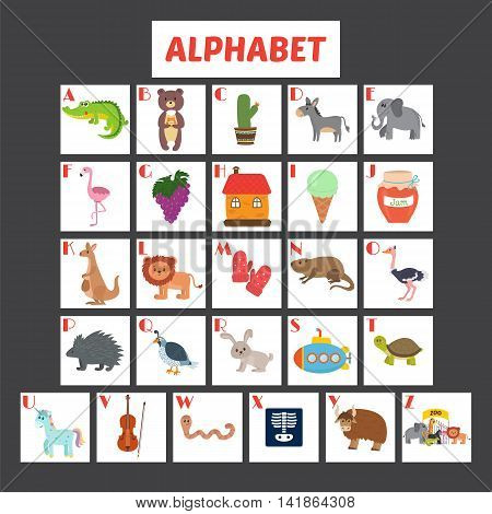 Children Alphabet With Cute Cartoon Animals And Other Funny Elements. Abc