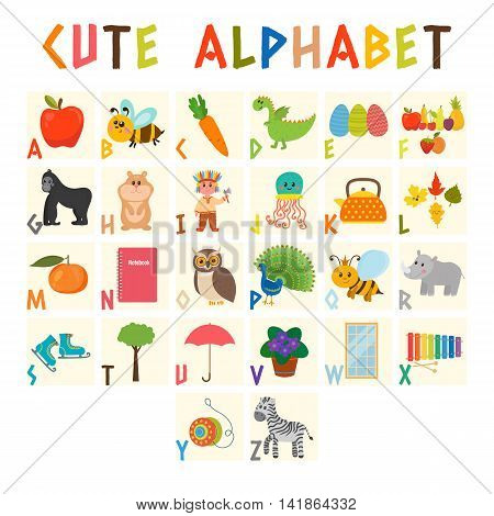 Children Alphabet With Cute Cartoon Animals And Other Funny Elements. Cartoon Vocabulary For Educati