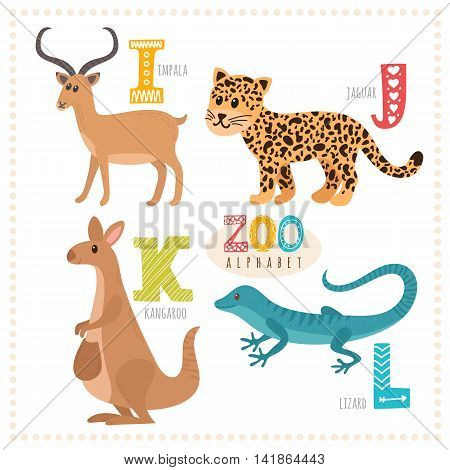 Cute Cartoon Animals Zoo Alphabet