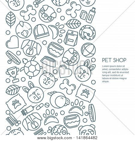 Vector Seamless Vertical Background With Outline Pets Icons. Goods For Animals.