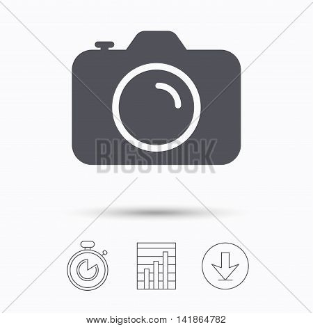 Camera icon. Professional photocamera symbol. Stopwatch, chart graph and download arrow. Linear icons on white background. Vector