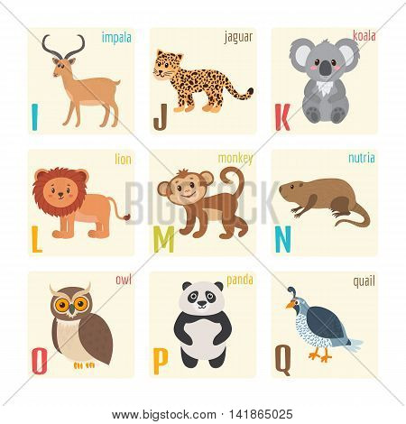 Cute Zoo Alphabet With Animals In Cartoon Style. Impala, Jaguar, Koala, Lion, Monkey, Nutria, Owl, P