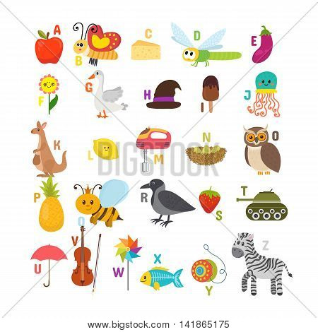 Learn To Read. Children Alphabet With Cute Cartoon Animals And Other Funny Elements. Abc