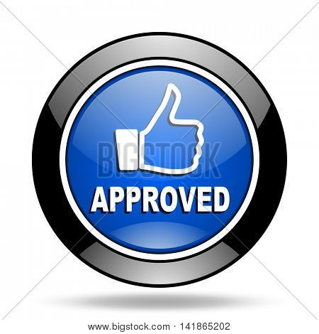 approved blue glossy icon