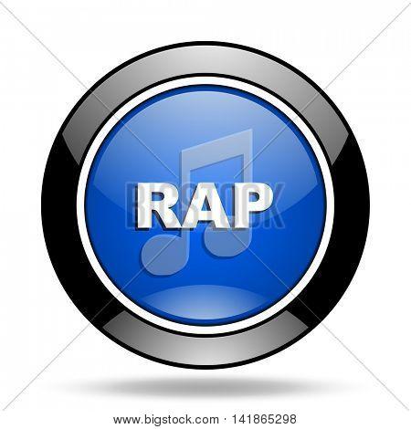 rap music blue glossy icon