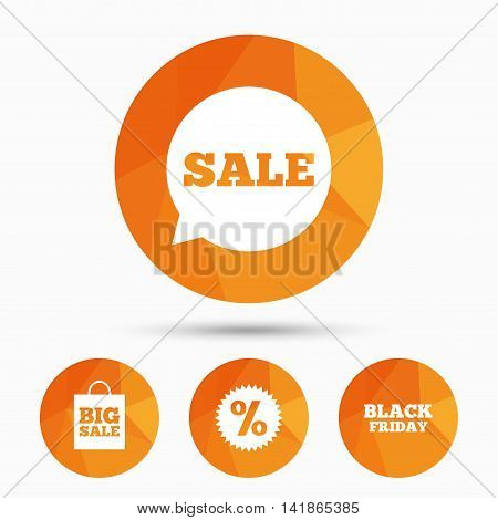 Sale speech bubble icon. Discount star symbol. Black friday sign. Big sale shopping bag. Triangular low poly buttons with shadow. Vector