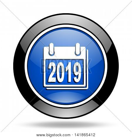 new year 2019 blue glossy icon