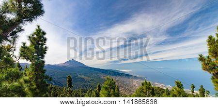 Panorama of El Teide volcano and Orotava valley from Mirador de Chipeque Tenerife Canary Islands Spain
