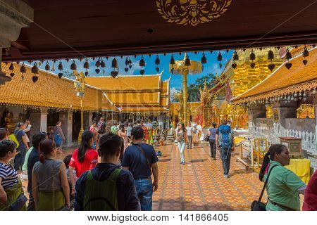 Chiang Mai Thailand - Jun 28 2016. People at Wat Phra That Doi Suthep. Chiang Mai Thailand