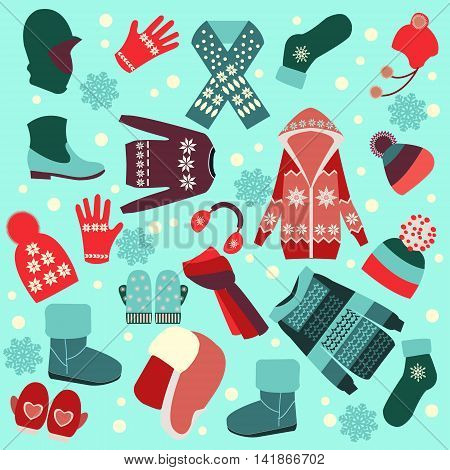 Vector collection of different fashion warm clothes in flat style- illustration. Collection of winter clothes and accessories.