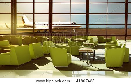 Green Sofa On The Luxury Airport Lobby