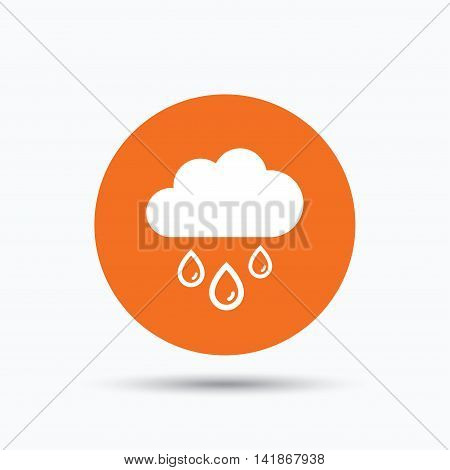 Cloud with rain drops icon. Rainy day symbol. Orange circle button with flat web icon. Vector