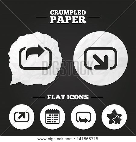 Crumpled paper speech bubble. Action icons. Share symbols. Send forward arrow signs. Paper button. Vector