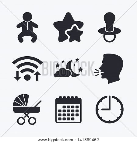 Moon and stars symbol. Baby infants icon. Buggy and dummy signs. Child pacifier and pram stroller. Wifi internet, favorite stars, calendar and clock. Talking head. Vector