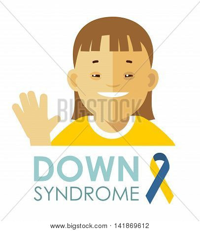 Smiling face of disabled girl isolated on white background