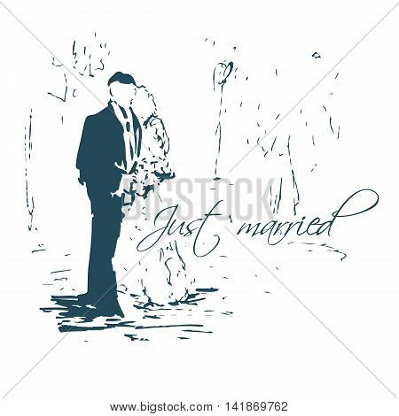 Hugging couple. Wedding card. Just Married sketch