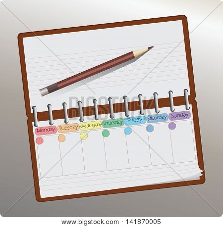 Planing, organizer. Notes pencil. Vector illustration. Business style.