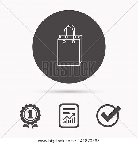 Shopping bag icon. Sale handbag sign. Report document, winner award and tick. Round circle button with icon. Vector