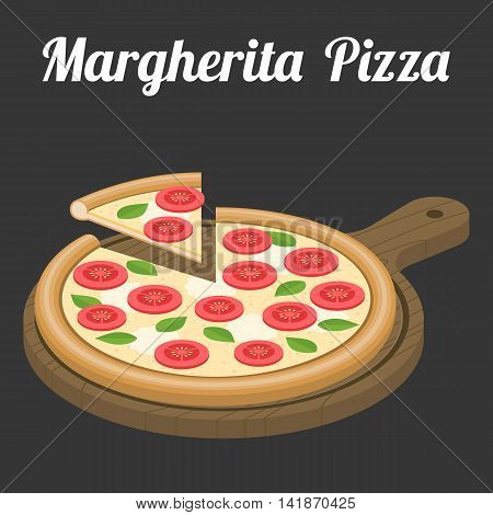 Vector Margherita Pizza, flat design with text