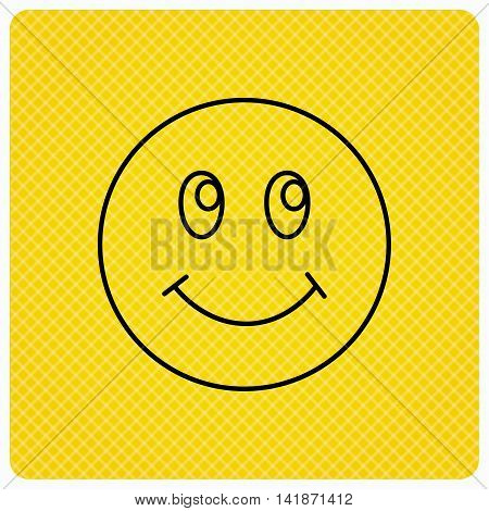 Smile icon. Positive happy face sign. Happiness and cheerful symbol. Linear icon on orange background. Vector