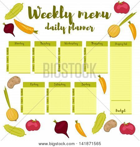 Green colorful modern paper note week healthy eating doodle. Breakfast lunch dinner. Weekly menu calendar. Template shopping list product and vegetables. Planner Vector.