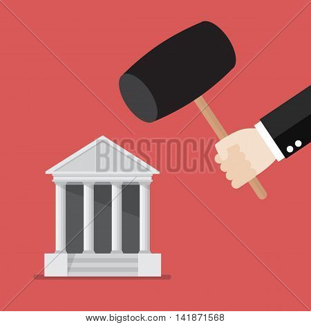 Business man handle a hammer to destroy a bank icon. flat style vector illustration