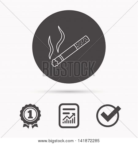 Smoking allowed icon. Yes smoke sign. Report document, winner award and tick. Round circle button with icon. Vector