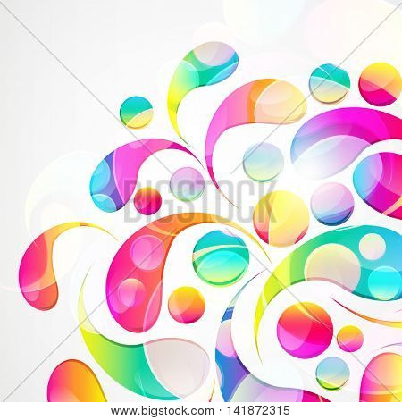 Abstract colorful paisley arc-drop pattern on a white background. Transparent colorful drops and circles design card.