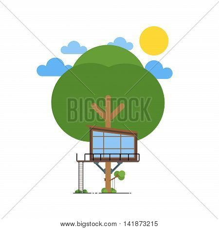 Tree house. House on tree for kids architecture summer ladder. Children playground with swing and ladder. Flat style vector illustration. Outdoor green small vector tree house nature playhouse.