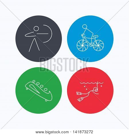 Diving, biking and archery icons. Bobsled linear sign. Linear icons on colored buttons. Flat web symbols. Vector