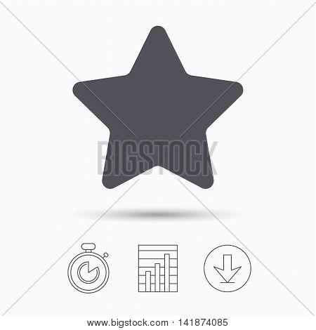 Star icon. Favorite or best sign. Web ranking symbol. Stopwatch, chart graph and download arrow. Linear icons on white background. Vector