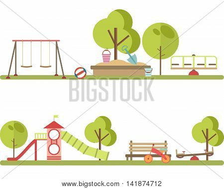 Playground infographic elements vector flat illustration.Kids playing equipment playground infographic set.Flat style cartoon vector illustration with isolated playground infographic objects.