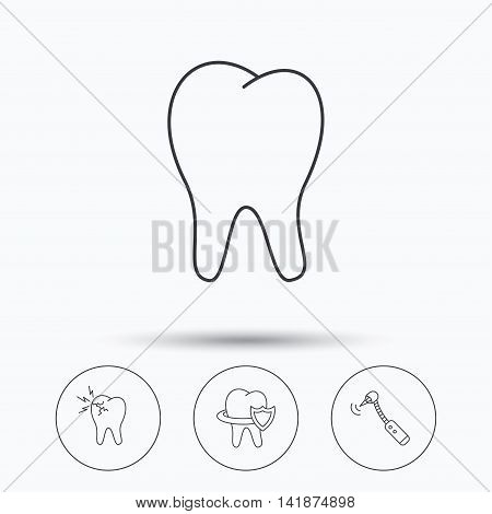 Tooth, toothache and drilling tool icons. Teeth protection linear sign. Linear icons in circle buttons. Flat web symbols. Vector