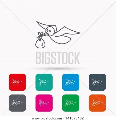 Stork with sack icon. Newborn baby symbol. Linear icons in squares on white background. Flat web symbols. Vector