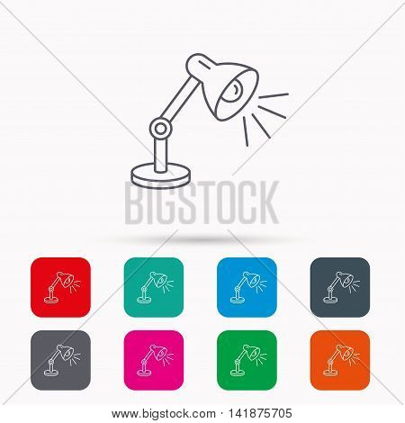 Table lamp icon. Desk light sign. Linear icons in squares on white background. Flat web symbols. Vector