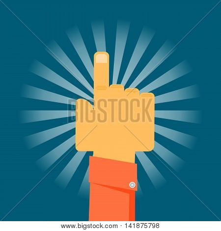 Cartoon with extended index finger hand vector illustration