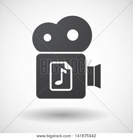 Isolated Retro Cinema Camera Icon With  A Music Score Icon