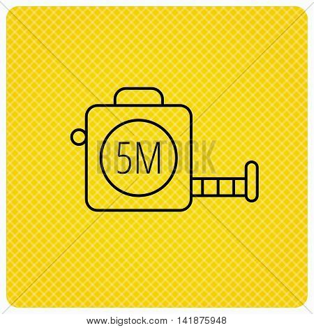 Tape measurement icon. Roll ruler sign. Linear icon on orange background. Vector