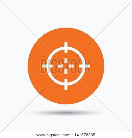 Target icon. Crosshair aim symbol. Orange circle button with flat web icon. Vector