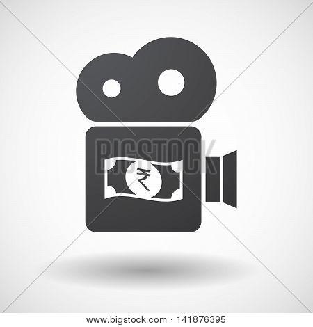 Isolated Retro Cinema Camera Icon With  A Rupee Bank Note Icon