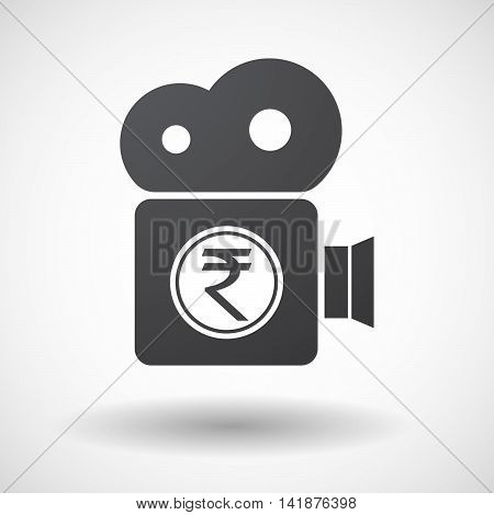 Isolated Retro Cinema Camera Icon With  A Rupee Coin Icon