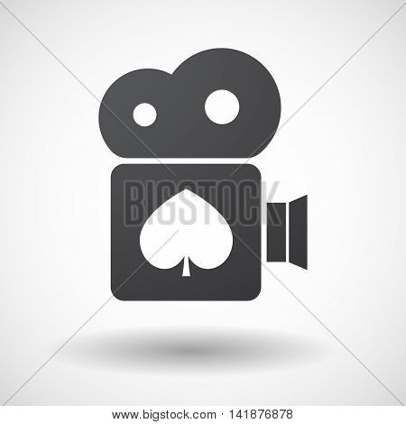 Isolated Retro Cinema Camera Icon With  The  Spade  Poker Playing Card Sign
