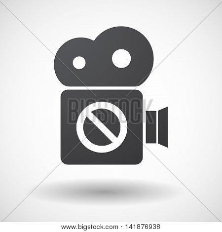 Isolated Retro Cinema Camera Icon With  A Forbidden Sign