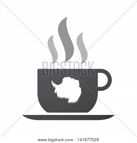 Isolated Coffee Cup Icon With  The Map Of  Antarctica