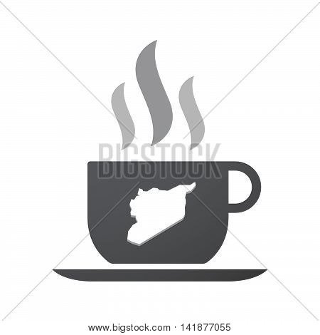 Isolated Coffee Cup Icon With  The Map Of Syria