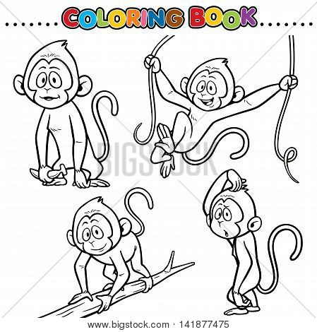 Vector Cartoon Animals Coloring Book - Monkey