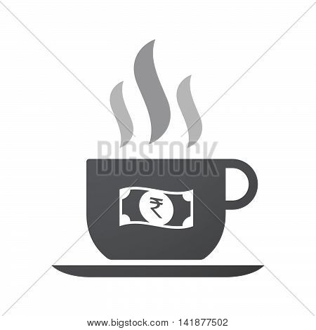 Isolated Coffee Cup Icon With  A Rupee Bank Note Icon