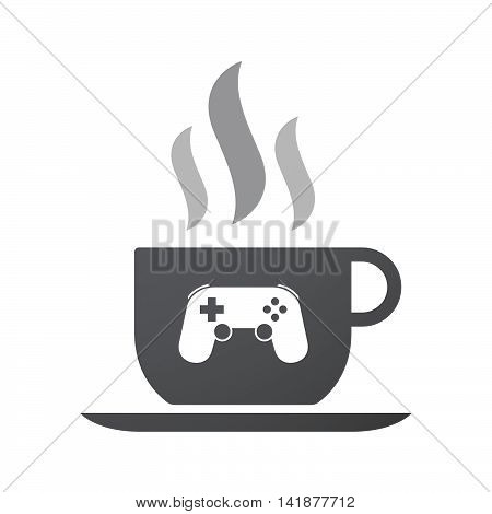 Isolated Coffee Cup Icon With  A Game Pad